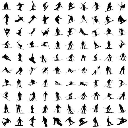 Un centinaio di silhouette di sciatori. Corsa in discesa, uno snowboard, bambini e adolescenti in movimento.