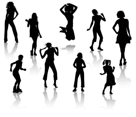 Silhouettes of young girls. A fashion and sports Vector