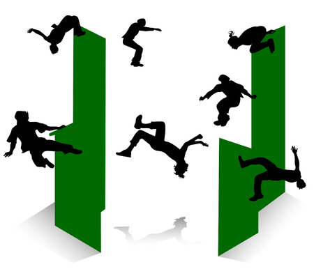 Silhouette of jumping young men and girl. Parkour. Vector