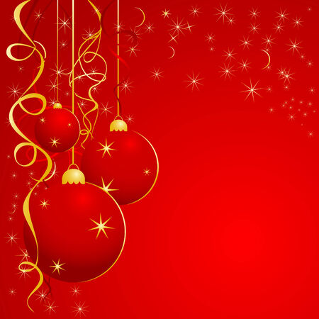 Christmas illustration for design in red color Vector