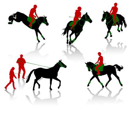 Siluetas de caballos en equestrians durante las competiciones