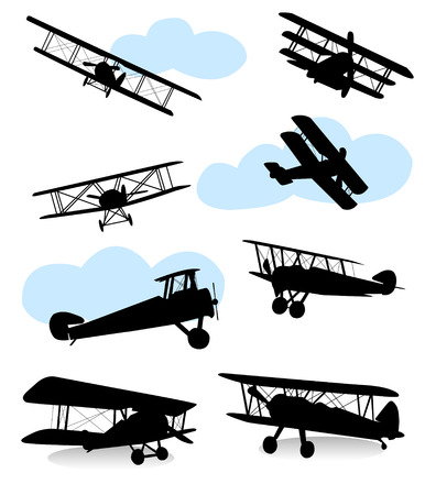 biplane: Collection of silhouettes of various planes