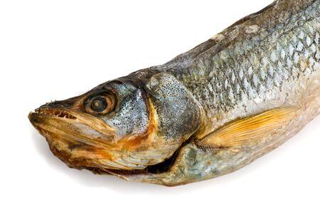 smelt: One dried fish smelt on white background Stock Photo