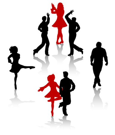 Dancers silhouette of national folk dance of Ireland. Vector