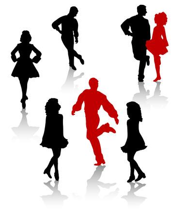 Dancers silhouette of national folk dance of Ireland. Illustration