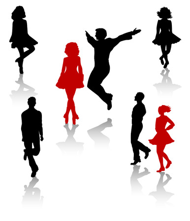 Dancers silhouette of national folk dance of Ireland. Illustration
