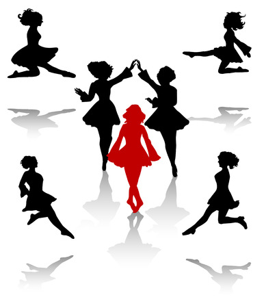 folk art: Dancers silhouette of national folk dance of Ireland. Illustration