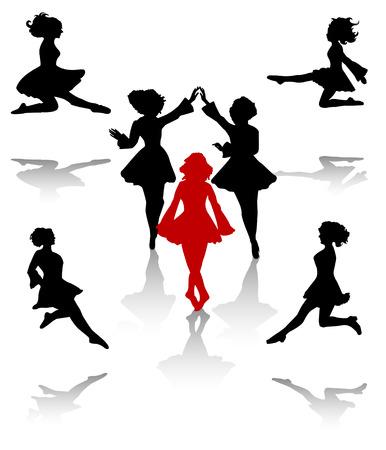Silueta de bailarines de danza folclórica nacional de Irlanda.