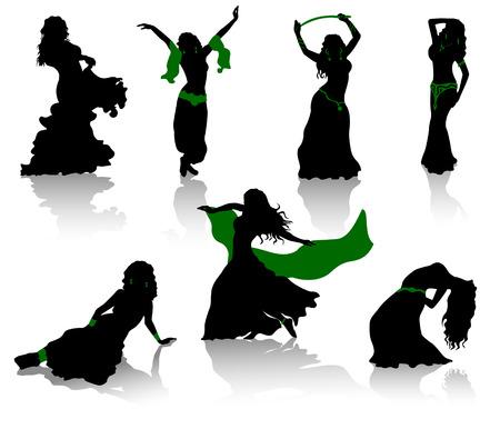 buikje: Buik dans. Silhouetten van schoonheid dansers.