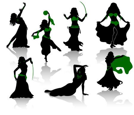 buikje: Belly dance. Silhouetten van de schoonheid dansers. Stock Illustratie