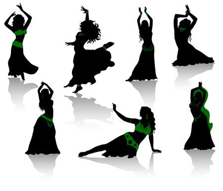 danseres silhouet: Belly dance. Silhouetten van de schoonheid dansers. Stock Illustratie