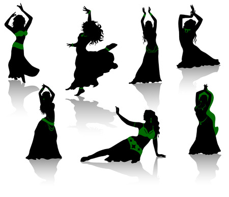 belly dancer: Belly dance. Silhouettes of beauty dancers. Illustration
