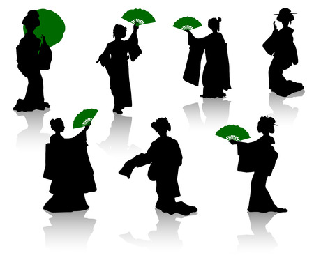 Silhouettes of dancers of Japanese theatre Kabuki and silhouettes of geishas Vector