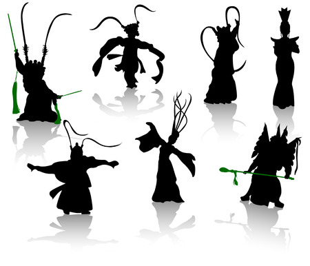 fan dance: Silhouettes of dancers. Chinese opera and the national dance Illustration