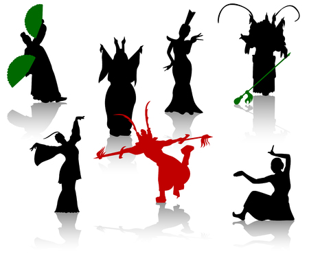 chinese fan: Silhouettes of dancers. Chinese opera and the national dance Illustration