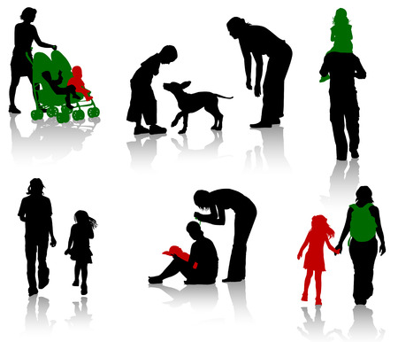walking on hands: The isolated silhouettes of parents with children.
