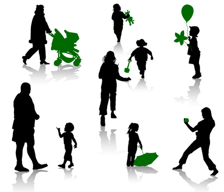 The isolated silhouettes of parents with children. Stock Vector - 4165846