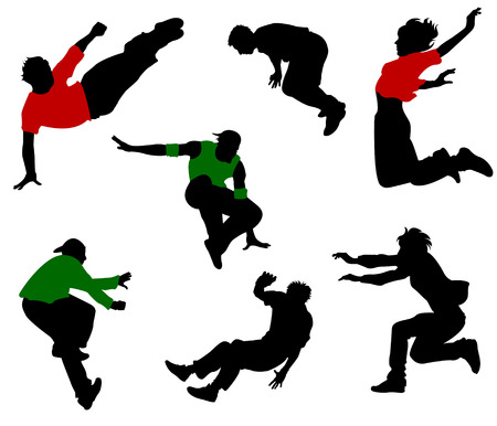 fallen: Silhouettes of seven jumping and fallen people