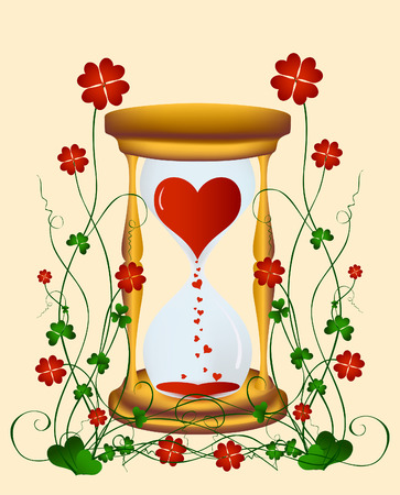 Sandglass to Valentines Day with a flower pattern Vector