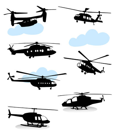 private jet: Collection of silhouettes of various helicopter