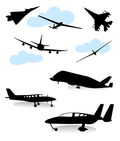 Collection of silhouettes of various planes Vector