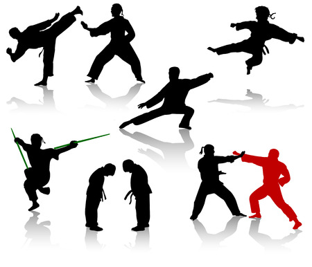 combative: Silhouettes of people in positions of karate and taekwondo