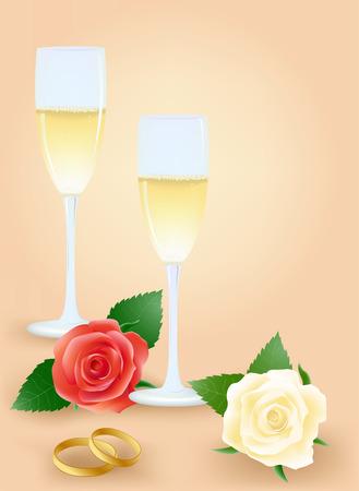 bollicine champagne: Nozze ancora vita con le rose e champagne Vettoriali