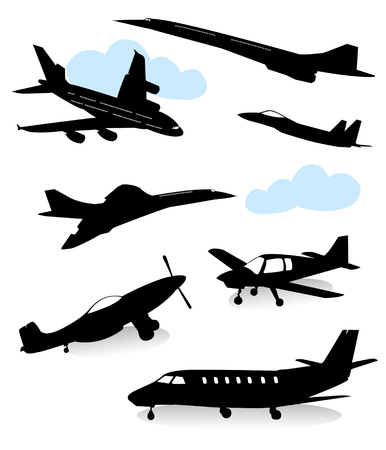 Collection of silhouettes of vaus planes Stock Vector - 4328908