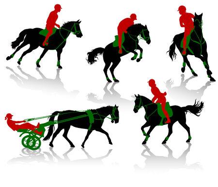 Siluetas de ecuestres de los caballos durante las competiciones Ilustración de vector