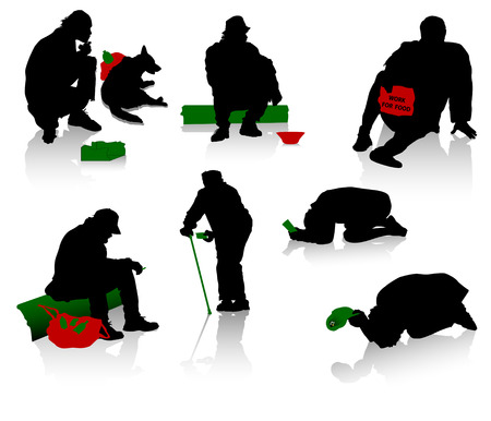 hopelessness: Silhouettes of beggars and homeless people Illustration