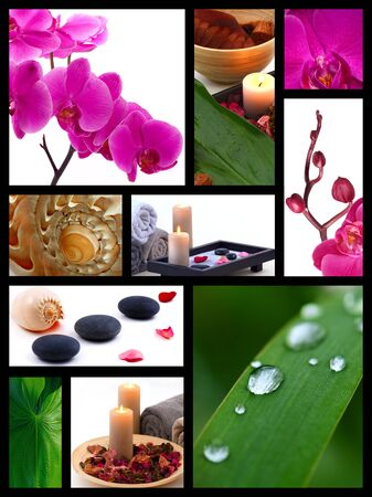 A collage of photos on the spa. Still life with stones, shells, orchids and leaves photo
