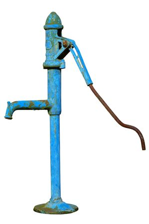 The old fashioned hand water pump isolated on a white background.