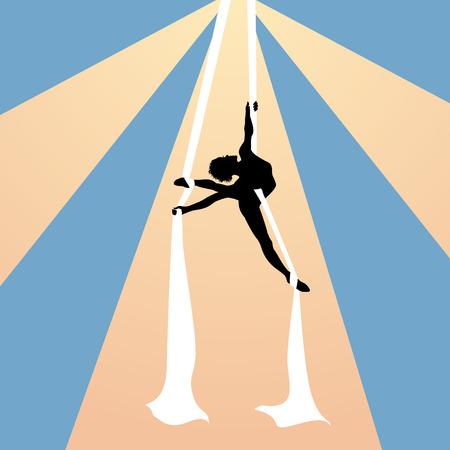 hanging woman: Aria ginnasta su nastri di seta sotto la cupola del circo