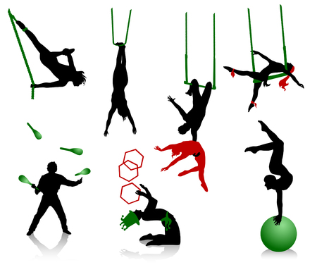 performers: Silhouettes of circus performers. Acrobats and jugglers. Illustration