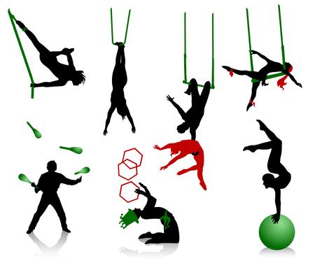 circo: Siluetas de los artistas de circo. Acr�batas y malabaristas.