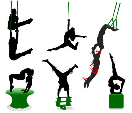 acrobatic: Silhouettes of circus performers. Acrobats and jugglers. Illustration