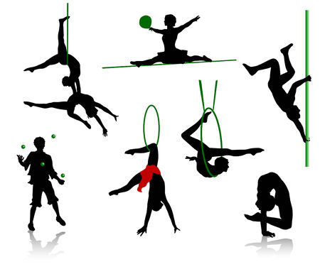 Silhouettes of circus performers. Acrobats and jugglers. Illustration