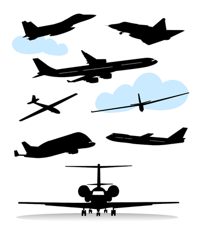 commercial airplane: Collection of silhouettes of various planes