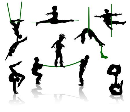 akrobatik: Silhouetten von Zirkusartisten. Akrobaten und Akrobat.