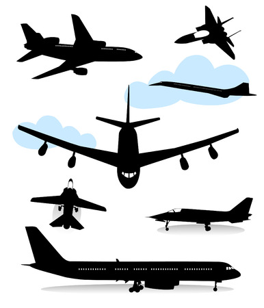 the air attack: Collection of silhouettes of various planes