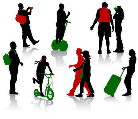 Silhouettes of tourists in different situation. Vector illustration Vector