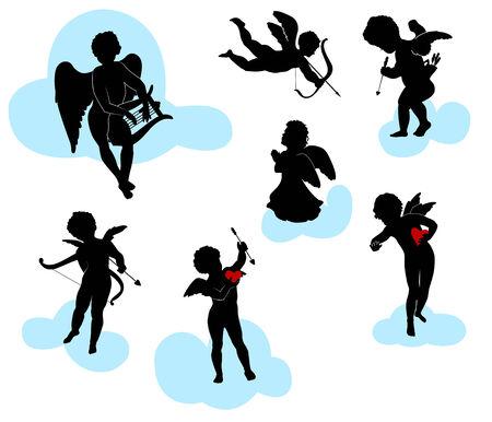 cherubs: Silhouettes of angels, cherubs and cupids
