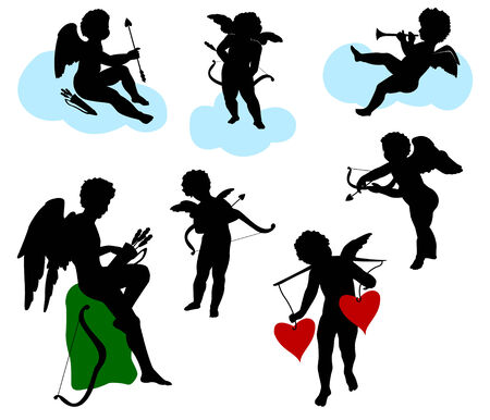 Silhouettes of angels, cherubs and cupids Vector