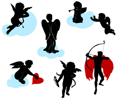 Silhouettes of angels, cherubs and cupids Stock Vector - 5710621
