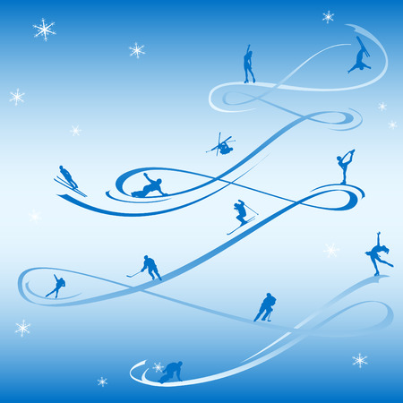 downhill skiing: Abstract card to the winter holidays, using the silhouettes of winter sports.