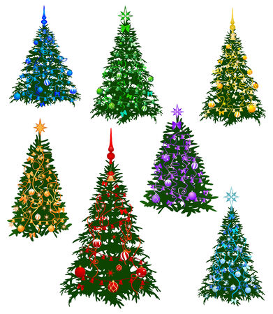 evergreen: The image of the seven christmas fur-tree decorated by a holiday on rainbow color