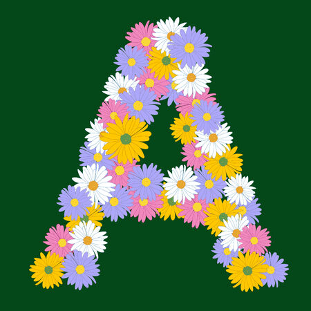 Letter A, collected from the flowers of asters Vector