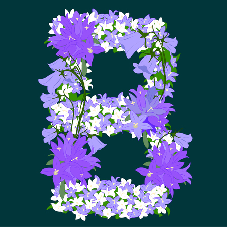 Letter B, collected from the flowers of bellflower Vector