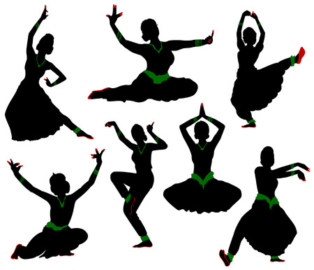 Silhouettes of dancers. Traditional Indian dance.