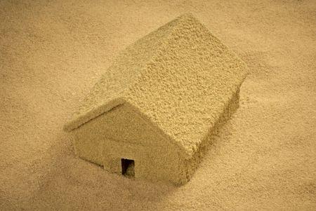 House built of sand Stock Photo